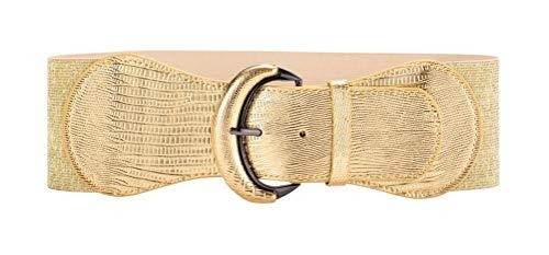 VOCHIC PU Leather Elastic Gold Wide Belt for Women Ladies Dress Stretch Thick Waist Belts ()