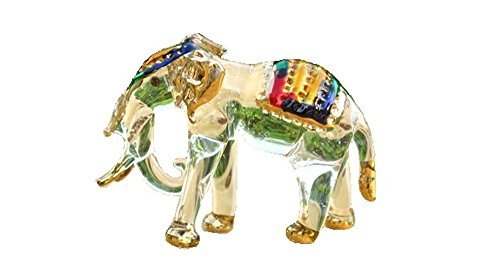 Handmade Elephant Art Glass Blown Wild Animal Figurine - No.1 -