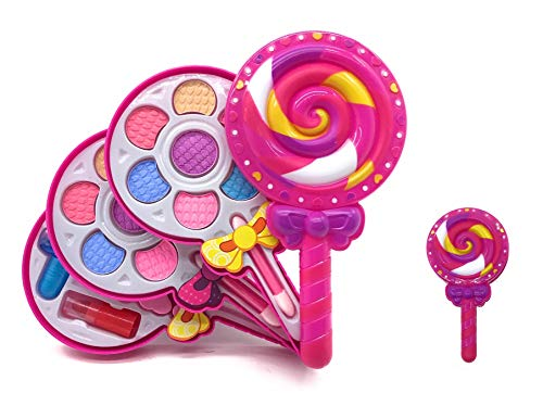 Girls Makeup Set Toy Lollipop Shape - Cosmetic Play Set For Kids w/ Lipsticks , Nail Polish & Blush Eye Shadows Brush - Girls Pretend Cosmetic Makeup Play Toy - -