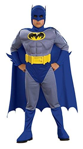 Batman Fancy Dress Kids (Boys Batman Brave Muscle Kids Child Fancy Dress Party Halloween Costume, M)