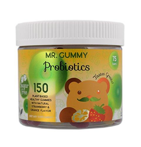 Mr Gummy Vitamins Sugar Free Probiotic Gummies | Delicious Orange & Strawberry Flavors | Enhance Digestion, Lessen Tummy Discomfort | [150 Gummies, 75-Day Supply] | Kids Vitamins