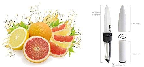 Lebefe Bullet Shaped Sharp Ceramic Vegetable Fruit Paring Knife and Peeler Combo Sets by Blinbling (Image #1)