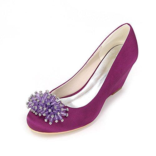 L@YC Tacones altos de las mujeres Primavera / Verano / Otoño / Tacones de invierno / dedo del pie puntiagudo Boda de raso / fiesta y noche Purple