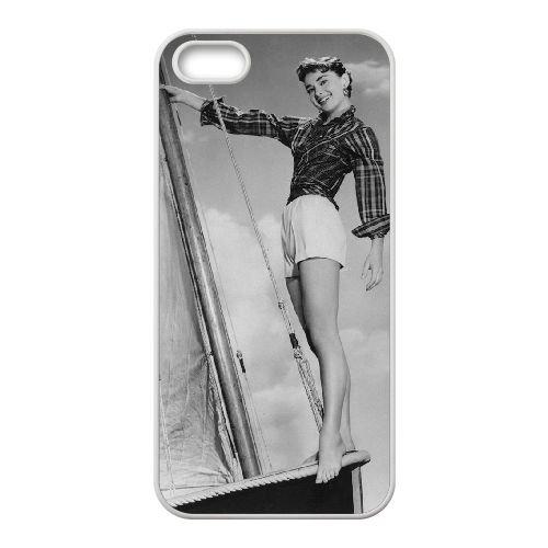 Audrey Hepburn coque iPhone 5 5S Housse Blanc téléphone portable couverture de cas coque EBDOBCKCO13430