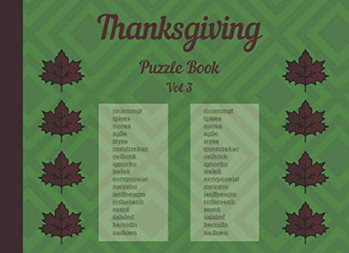 Thanksgiving Puzzle book Vol 3: Large print easy thanksgiving word scramble puzzles (Thanksgiving