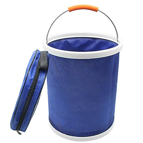 iRonrain (Upgraded) Collapsible Camping Fishing Bucket, 13L/3.4Gallons Upgraded Compact Portable Folding Water Container, Great for Hiking, Travel, Boating and Kids toy storage box (Blue) by iRonrain
