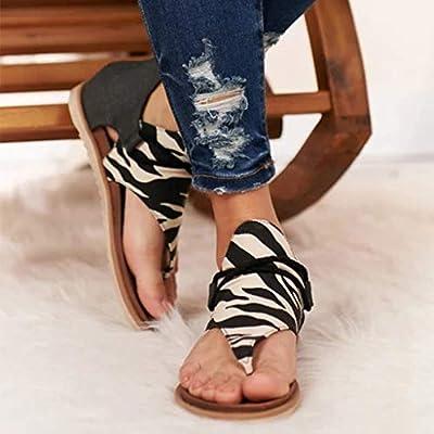 Fudule Women Gladiator Comfy Sandals Fashion Leopard/Zebra/Snake Pattern Flat Heel Shoes Slip On Back Zipper Sandals: Clothing