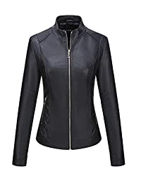 Bellivera Womens Faux Leather Short Jacket for Spring and Autumn