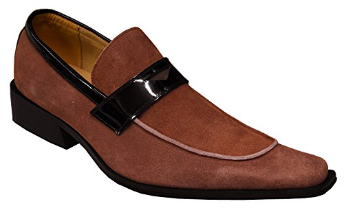 (Zota Men's Genuine Suede Leather Italian Design Italy Slip-On Loafer Shoes 7013, Rust, 8.5 M)