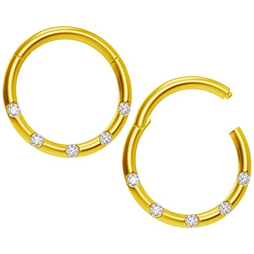 Bling Piercing 2pc 18g CZ Gold Clicker Septum Ring Clamp Clip Closed Counter Daith Ear Earring Gauge Hinged Helix