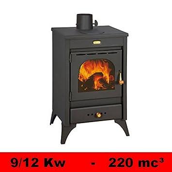 Estufa de leña con placa de cocción de fundición. 9/12 kW. Modelo:Kyr.: Amazon.es: Hogar