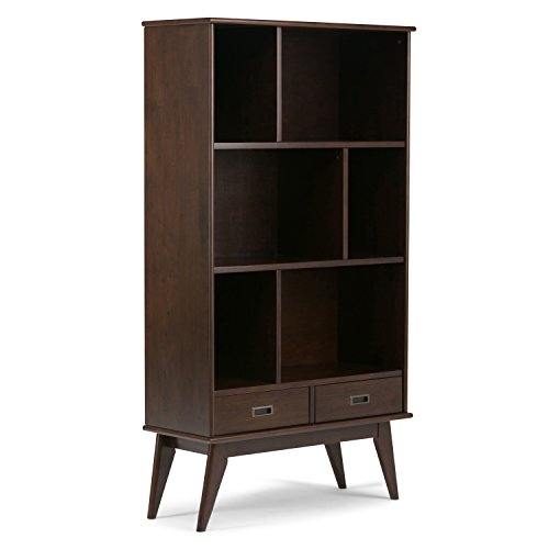 Auburn Living Room Set - Simpli Home Draper Mid Century Solid Hardwood Wide Bookcase & Storage unit, Medium Auburn Brown