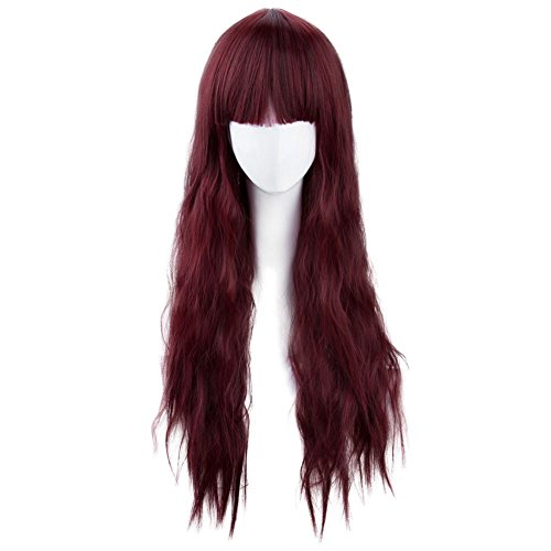 """Aibelly 29"""" Synthetic Full Hair Wig Wine Red Full Bangs He"""