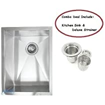 15 Inch Stainless Steel Undermount Single Bowl Kitchen / Bar / Prep Sink Zero Radius Design 16 Gauge with Free Accessory