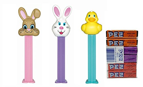 Pez Candy Packs (PEZ Easter Dispensers and Candy Set (Bundle of 4 Items) - 3 Easter Dispensers, and a Pack of 8 PEZ Candy Refills)