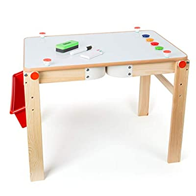 Wooden 3-in-1 Magnetic Chalkboard Table - Premium Toy Designed for Kids, Ages 4 & Up. A Small Foot Design: Toys & Games