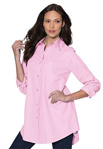 Women's Pink Long Sleeve Boyfriend Shirt: Amazon.com