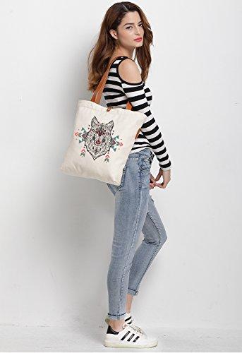 IN.RHAN Women's Wolf Aztec Canvas Handbag Tote Bag Shoulder Bag
