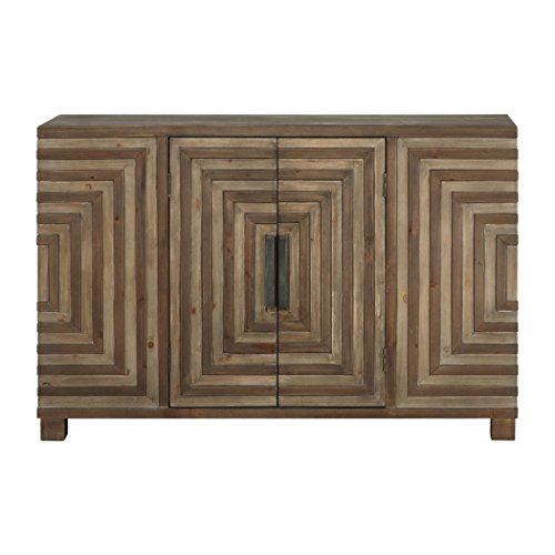 MY SWANKY HOME Mid Century Modern Pieced Wood Console Cabinet | Geometric Table Squares