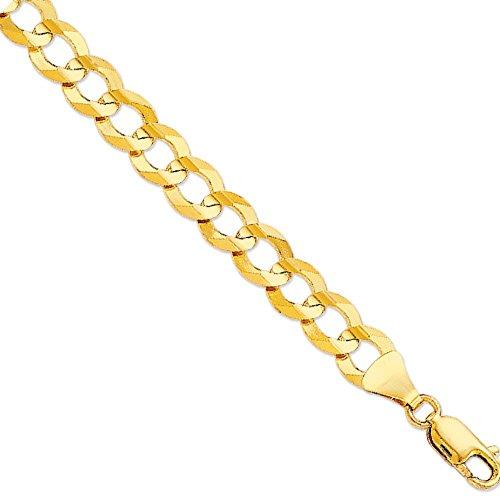 10K Solid Gold Comfort Concave Cuban Curb Link Chain Bracelet 8.5