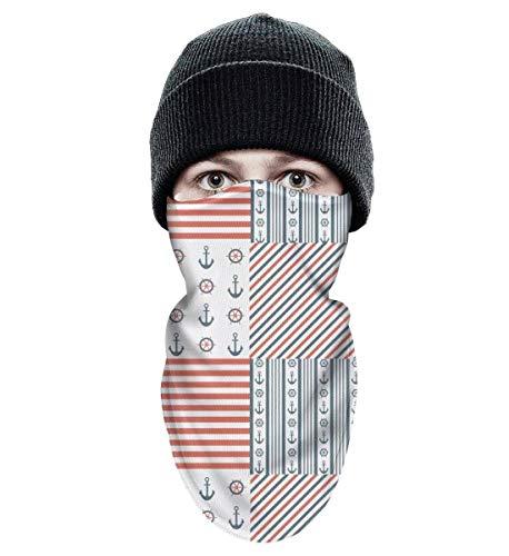 BingGuiC Ski Mask for Men Women Anchor Print Stripe Windproof Neck Warmer Outdoor Sports Balaclava Ski Face Mask