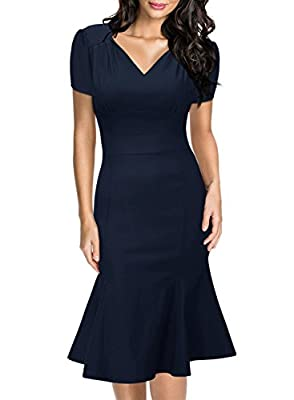 Miusol Women's Retro V-Neck Cap Sleeve Business Official Fishtail Pencil Dress