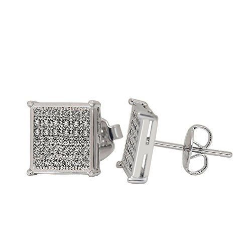 Silver Square Stud - Mens Square Earrings Stud Diamond Crystal Big 316L Surgical Stainless Steel Post for Sensitive Ear White Gold, Silver Cool Guy Jewelry Gift Men,Women Unisex 9.5mm -Bala
