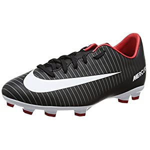 NIKE Jr. Mercurial Victory VI FG Soccer Cleat (SZ. 5.5Y) Black, White, Red