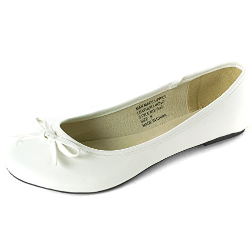 Alpine Swiss Iris Women's White Genuine Suede Lined Bow Ballet Flats 8 M US