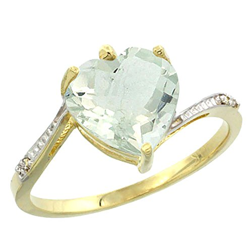 10K Yellow Gold Genuine Green Amethyst Ring Heart 9x9mm Diamond Accent size 7 ()