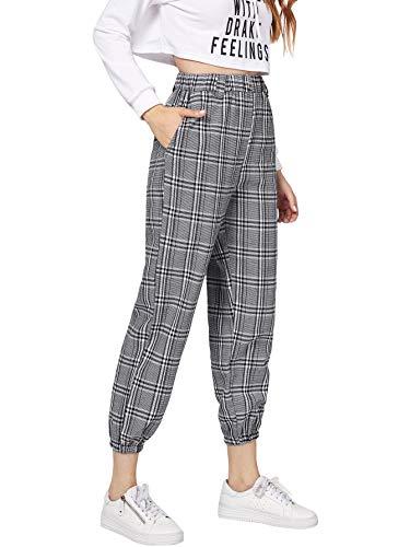 Milumia Womens Elastic Waist Pocket Plaid Pants Casual High Waist Jogger Pant