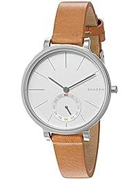 Skagen SKW2450 Reloj para Mujer Redondo, Análogo, color Blanco y Marrón