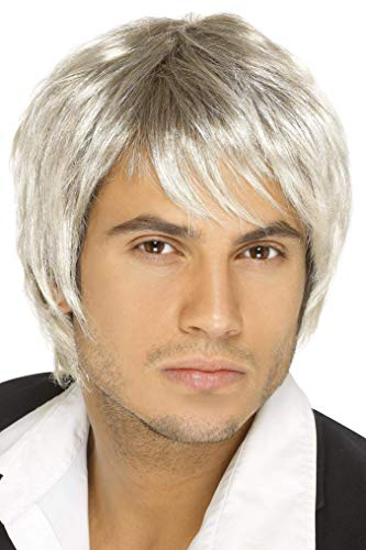 Smiffys Men's Blonde and Brown Short Wig, One Size, Boy Band Wig, -