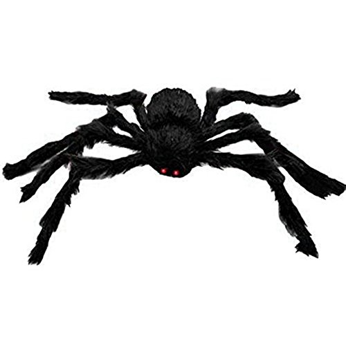 Outside Halloween Ideas (Large Plush Spider Halloween Decoration Haunted House Scary Outdoor Indoor Decoration(4.1ft Black))