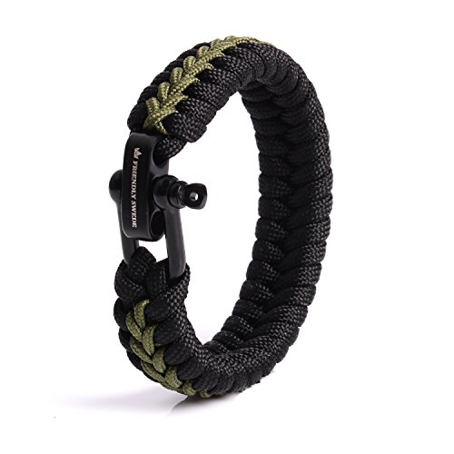 The Friendly Swede Paracord Bracelet with Microcord and D-Shackle - Adjustable Size (Army Green Small)