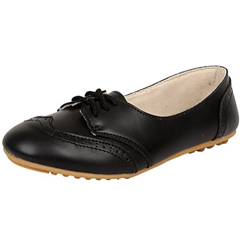 Mordenmiss Womens Causale Wingtip Solid Lace Oxford Brogue Shoes Zwart
