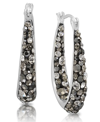 Black Silver Hoop - Crystalogy Silver Plated Black Crystal Inside Out Oval Shape Hoop Earrings, 1.2 Inch