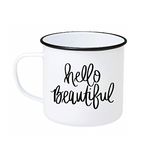 Hello Beautiful Campfire Mug | Large White Coffee Tea-Cup Inspirational Outdoor Gift For Her Cute Motivational Stocking Stuffer Good Morning Gorgeous 18 Ounces