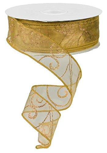 Sheer organza ribbon wired 150ft spool(glitter gold swirl)