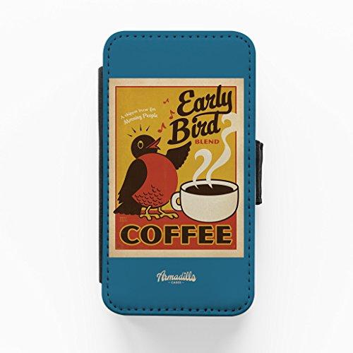 Early Bird Coffee Hochwertige PU-Lederimitat Hülle, Schutzhülle Hardcover Flip Case für iPhone 4 / 4s vom Anderson Design Group + wird mit KOSTENLOSER klarer Displayschutzfolie geliefert