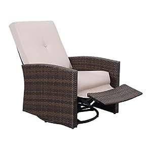 Outsunny ratán mimbre giratorio balancín para exteriores sillón reclinable silla de salón