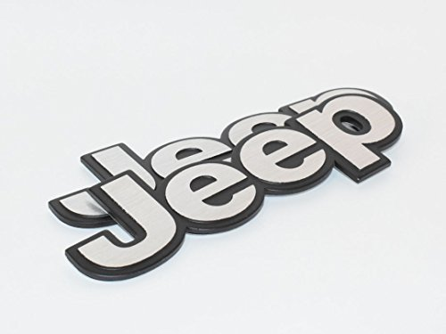 Jeep Silver Hq Aluminium Metal Car 3D Badge Emblem Brushed Alloy Logo Auto Adhesive Fender Swap Trunk Hood Side Replacement Decal Sticker Truck Jeep Van Sports Diy Name Plate [2Piece] SKU#5263-BX1009