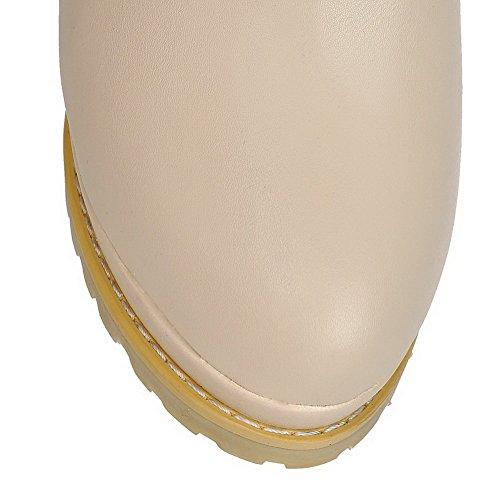PU Women's High Closed Round Allhqfashion Heels Boots Beige Toe Zipper Mid top gqw4qId