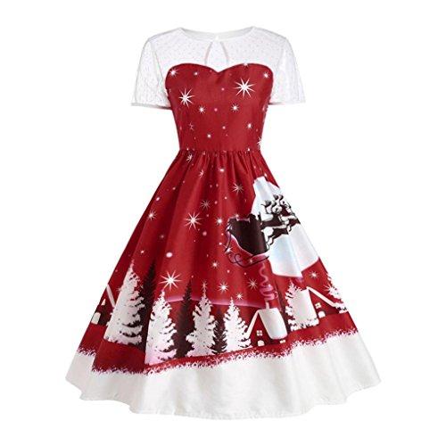 BeautyVan Swing Dress, Women's Vintage Christmas O-Neck Printed Short Sleeve A-Line Swing Dress (S, Wine)