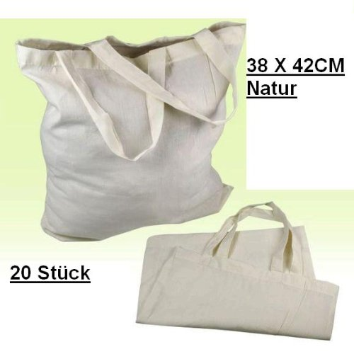20 STÜCK Baumwolltasche Einkaufstasche Stofftasche Tragetasche Beutel Baumwolle 38 X 42 CM Natur