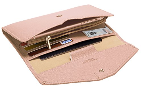 Zoppen Multi-purpose Rfid Blocking Travel Passport Wallet (Ver.4) Tri-fold Document Organizer Holder (#26 Carnation Pink)