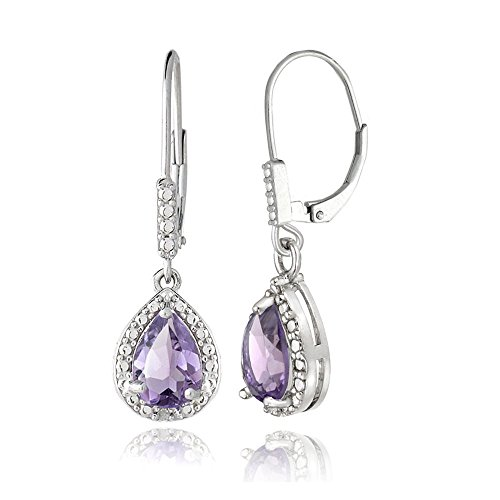 Sterling Silver Amethyst Teardrop Leverback Earrings