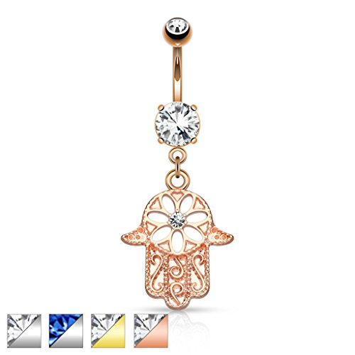 lala_mcp Beaded Hamsa Hand with CZ Dangle 14K Gold Plated Navel Belly Ring 14g 3/8