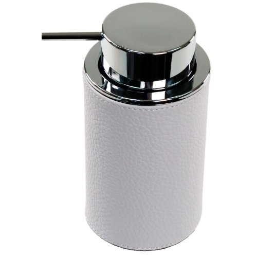 Gedy Alianto Color Round Soap Dispenser Made from Faux Leather, White