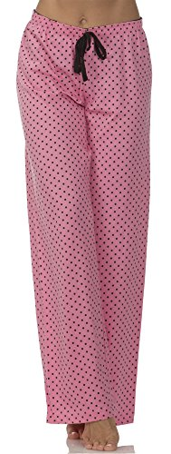 Jersey Pink Cotton Dot (Dollhouse (6463DH) Womens Cotton Jersey Drawstring Pajama Bottoms in Pink Dots Size: Large)